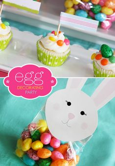Use card stock to cut out bunny faces and attach to clear plastic goody bags - cute!