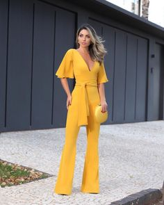 Full Length Plain Lace-Up Bellbottoms Women's Jumpsuit Classy Outfits, Cool Outfits, Fashion Outfits, Looks Chic, Jumpsuits For Women, African Fashion, Ideias Fashion, Rock, Clothes