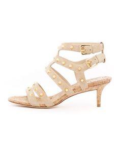 KORS Michael Kors  Shay Studded Kitten-Heel Sandal.  FINALLY AN ANKLE STRAPPY SANDEL WITH LOW HEEL. THANK U MICHAEL KORS