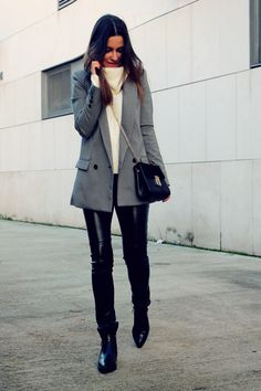 LITTLE BLACK COCONUT: Houndstooth blazer, leather pants and high neck sweater