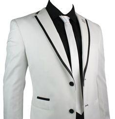 Mens Suit White Black Trim Blazer & Trouser Smart Casual Wedding Party 2 Button