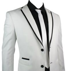 Mens Suit White Black Trim Blazer & Trouser Smart Casual Wedding Party 2 Button