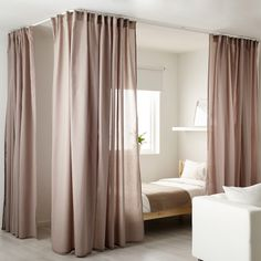 VIDGA Corner room divider, white - IKEA Ikea Curtains, Bunk Bed Curtains, Curtains To Go, Hanging Curtains, Panel Curtains, Curtains Around Bed, Corner Curtains, Ceiling Curtain Track, Room Divider Curtain
