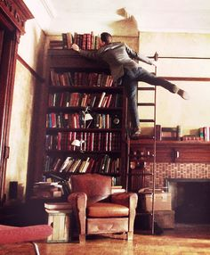 You know you could just move the ladder too, right? (via TumbleOn) Elementary Tv Show, Elementary My Dear Watson, Sherlock Holmes Elementary, Johnny Lee, Jonny Lee Miller, National Theatre, 221b Baker Street, Sherlock Bbc, Mom And Dad