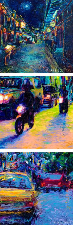 Paintings by Iris Scott. In order top to bottom: 1. My Thai Crocodiles 2. Two Motorcycles 3. Yellow Volvo. Finger painted oils. Originals and prints available at www.IrisScottFineArt.com impressionism art vangogh artist city urban urbanart texture impressionism oilpainting fingerpainting #IrisScott