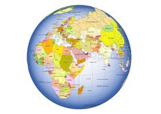 Alphabetical order of countries plus world map    Globe map     Arabien penninsula on Globe colored map  Country name of World countries