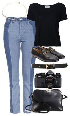 """""""Untitled #6052"""" by rachellouisewilliamson ❤ liked on Polyvore featuring Topshop, Frame, Gucci, Tory Burch, The Row, Djula and Nikon"""
