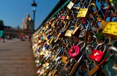 Love lock bridge in Paris. So romantic.
