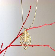 Golden Leaf Necklace by EridaneasBoutique on Etsy