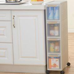 Beige Multifunction PP Pulley Multi Layer Combination Drawer Bin Cracks Shelf Storage Box For Snacks Toys Holder Office Cabinet
