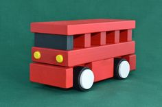Handmade wooden toy bus by The Humble Wood Artisan on Etsy