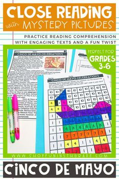 Practice close reading skills with these high interest passages learning about the history of the Cinco De Mayo holiday.  Includes THREE reading comprehension passages differentiated to THREE different levels so perfect for your WHOLE class!  Includes 10 text dependent questions, graphic organizer, writing prompt and mystery pictures!  #closereading