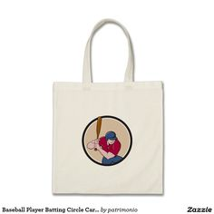 Baseball Player Batting Circle Cartoon Tote Bag. Illustration of an american baseball player batter hitter with bat batting viewed from high angle set inside circle done in cartoon style isolated on background. #baseball #olympics #sports #summergames #rio2016 #olympics2016