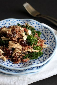 Wild Rice Salad with Chicken, Dried Cherries and Goat Cheese...Bust out the flavor with this easy dinner! 259 calories and 7 Weight Watchers PP | http://cookincanuck.com