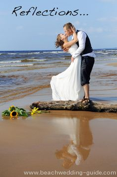Reflected in the water, beach wedding photo [ Waterbabiesbikini.com ] #beach #bikini #elegance