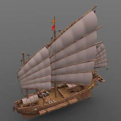 chinese junk - and obj model obj mtl pdf 4 Chinese Boat, Junk Ship, Ocean Storm, Naval History, Model Ships, Tall Ships, Water Crafts, Sailboat, Cool Places To Visit