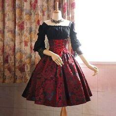 Pretty Outfits, Pretty Dresses, Beautiful Dresses, Old Fashion Dresses, Fashion Outfits, Dress Fashion, Moda Lolita, Gothic Dress, Kawaii Clothes
