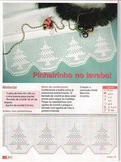 Crochet filet Xmas tree motif chart pattern