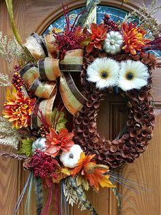 Fall welcome wreathOwl fall wreathAutumn Fall wreathFall