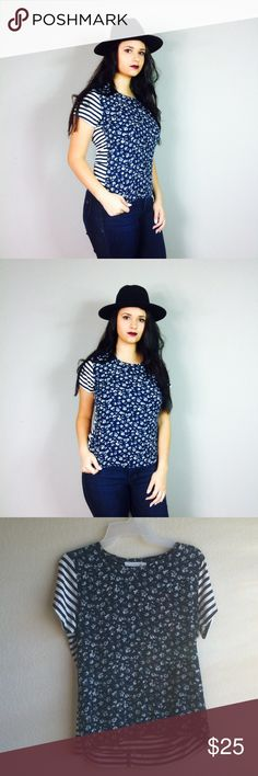 Vince Camuto Navy Floral Striped Blouse Size small in great condition 100% rayon Two by Vince Camuto Tops Blouses