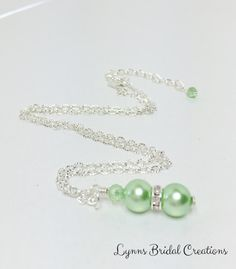 Mint Green Necklace Shell Pearl Necklace by LynnsBridalCreations
