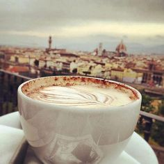 Drinking espresso in Florence.