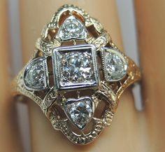 Antique Diamond Engagement Ring Solitaire 14K Art Deco Vintage Estate Bridal  #EngagementRing