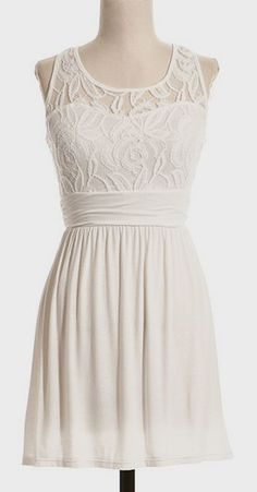 Ivory Lace Overlay A-Line Dress  this could be a bridesmaid dress