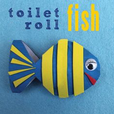 Peces fáciles de hacer con el cartón del rollo del papel del váter. Fish craft idea made with toilet rolls
