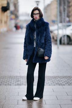 COMIFASHION Blue fur coat 70 furcoat look outfit coat