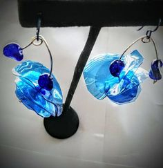 Dangly Earrings, Drop Earrings, Made By Mary, Clock Parts, Turquoise Glass, Ear Rings, Plastic Bottles, Shopping Mall, Shades Of Blue
