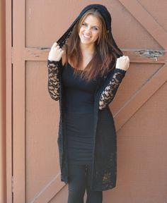 Long Black Lace Cardigan www.daisyshoppe.com