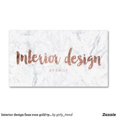 Interior Design Faux Rose Gold Typography Marble Business Card