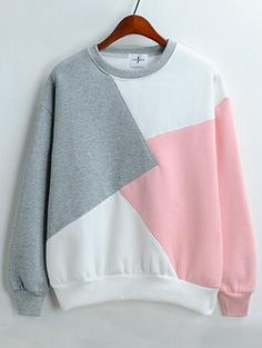 Color-block Round Neck Loose Sweatshirt