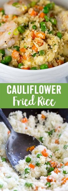 Shrimp fried cauliflower fried rice is a healthy and delicious vegetable based alternative to traditional Chinese stir fry. Cauliflower florets substitute white rice for this savory one-pot meal.