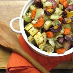 Meltingly tender, delicata squash, fennel, onions, carrots and potatoes. The flavors deepen and harmonize when roasted.