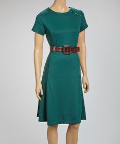 Take a look at the Joy Mark Forest Belted Short-Sleeve Dress on #zulily today!