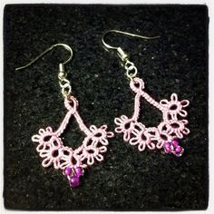 Floret Earrings in violet/pink from Craftsy Shuttle Tatting class