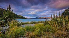 Скачать обои тучи, горы, Lake Tekapo, камешки, берег, Новая Зеландия, озеро, трава, раздел пейзажи в разрешении 1920x1080