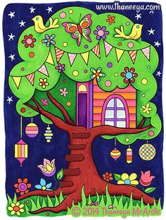 Whimsical art by Thaneeya McArdle: Paintings and drawings of cute colorful fairies, aliens, cats, dogs, people and more! Tree House Drawing, House Drawing For Kids, Art Drawings For Kids, Art For Kids, Colorful Paintings, Colorful Drawings, Painting For Kids, Painting & Drawing, Art Fantaisiste