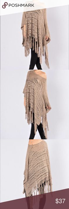 ✨NEW LIST✨ On the Fringes Shawl Open knit tassel shawl with very short sleeves (sorta sleeves but not quite) so the shawl stays in place. Versatile color. Can be worn on or off the shoulder. Comes new in package. Tops