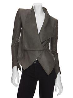 Helmut Lang Asymmetrical Supple Leather Jacket $1416.46