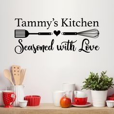 Personalized Name Kitchen Wall Decal - Seasoned with love Kitchen Decor
