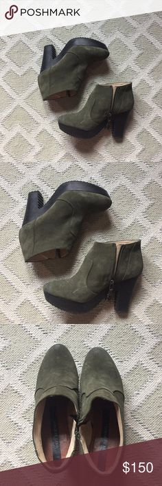 """Matt Bernson """"Dylan"""" booties These fun booties, in fall-ready moss suede, feature an understated military flare. The thick, black heel is about 3-3.5"""" high, with about a 1.5"""" platform across the sole. Zipper closure with a pewter chevron detail. Worn a few times, but in excellent condition. Matt Bernson Shoes Ankle Boots & Booties"""