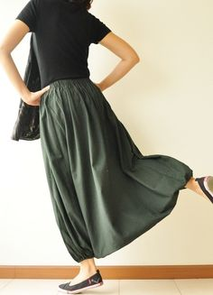 Dark Green Cotton Harem Pants