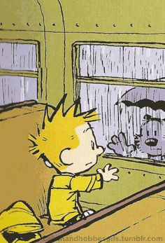 Calvin and Hobbes animated gif. Calvin, on the school bus, waves goodbye to a wet Hobbes.