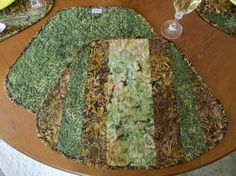 Quilted Olive Brown Batik Placemat 461 by QuiltinWaYnE on Etsy