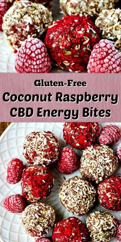 Raspberry Coconut Date Balls Coconut Raspberry CBD Energy Bites are a great gluten-free treat that is healthy and delicious. This recipe is no-bake, plus its grain-free and made without refined sugars. via Clean Eating Kitchen Vegan Gluten Free Desserts, Gluten Free Treats, Gluten Free Baking, Protein Snacks, Energy Snacks, Protein Bars, Healthy Protein, Fat Bombs, Coconut Date Balls