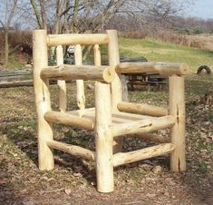 Log Chair, we made similar from fencing posts Willow Furniture, Rustic Log Furniture, Western Furniture, Rustic Cabin Decor, Rustic Crafts, Lodge Decor, Rustic Cabins, Rustic Wood, Log Chairs