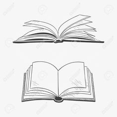 Illustration of Open book isolated on white background. Hand draw in a graphic style. vector art, clipart and stock vectors. Book Clip Art, Book Art, Open Book Tattoo, Open Book Drawing, Book Silhouette, Art Sketches, Art Drawings, Gravure Illustration, Engraving Illustration